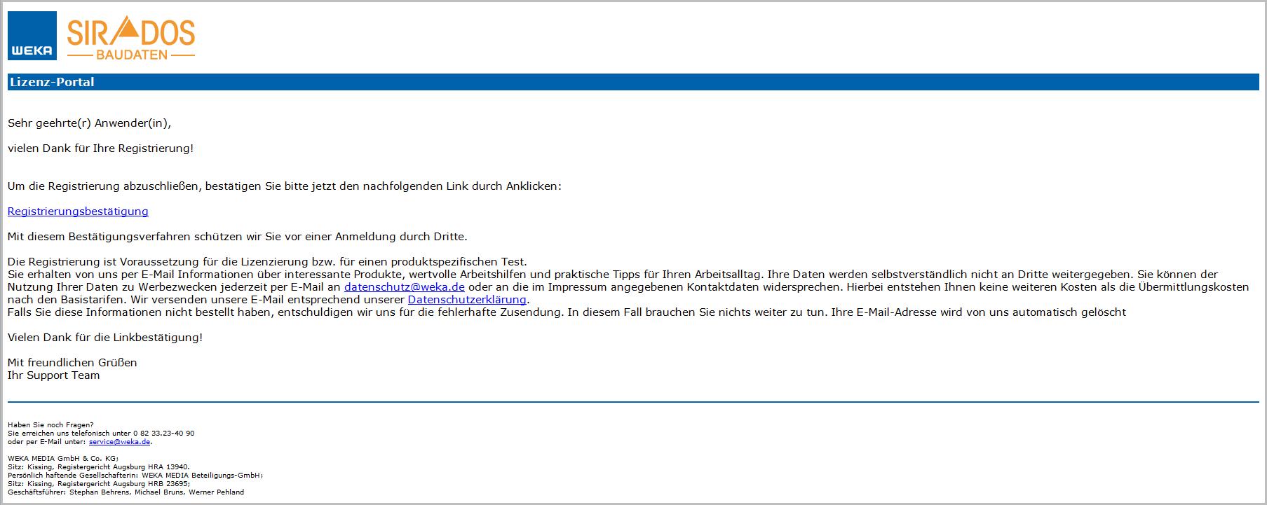 SIRADOS Registrierungsbetätigung Lizenz-Portal