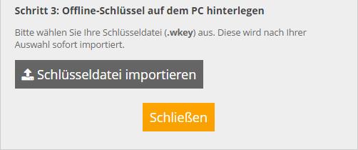 Screen Schlüsseldatei importieren